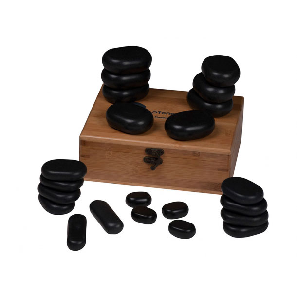 Basalt Hot Stone sett, 22 stykker, i vakker bambus boks